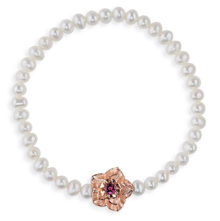 Drachenfels Design Freshwater Pearl Bracelet with Rose gold silver flower and rhodolite stone €196