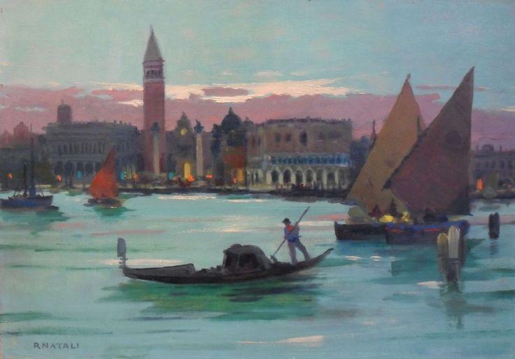 Renato Natlai Piazza San Marco Olio su Tavola cm 35x50