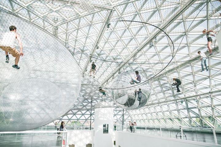"""""""in Orbit """" -  A wonderful installation by Tomás Saraceno im #K21 @K_SammlungNRW in Düsseldorf - worth to visit."""