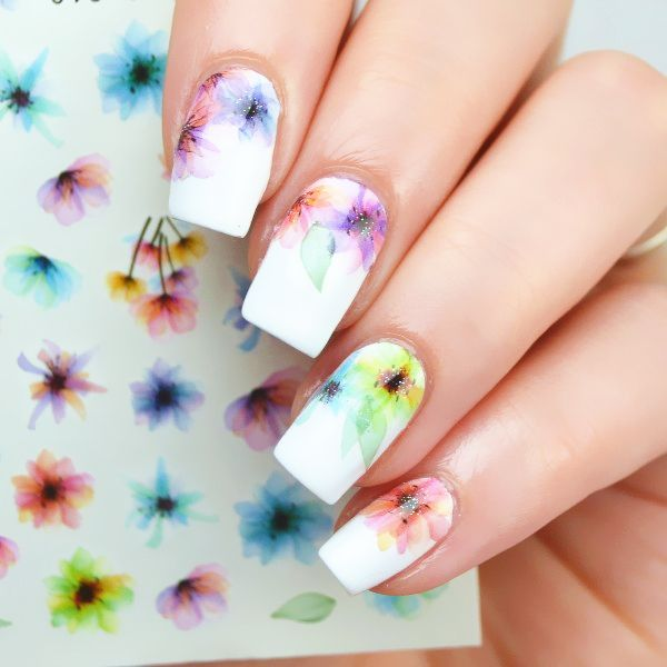 $1.19 Chic Flower Nail Art Water Decals Transfer Stickers Splendid Water Decals Sticker #D013/D014/D015 - BornPrettyStore.com