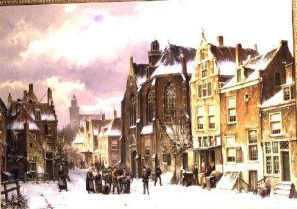 Snow In Amsterdam de Willem Koekkoek (1839-1895, Netherlands)