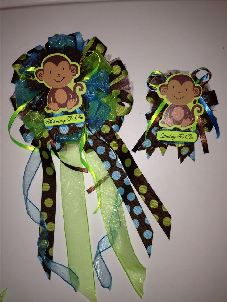 """""""Mommy To Be"""" and """"Daddy To Be"""" baby shower corsages  #Monkey #BlueGreenBrownPolkaDots #ItsABoy"""