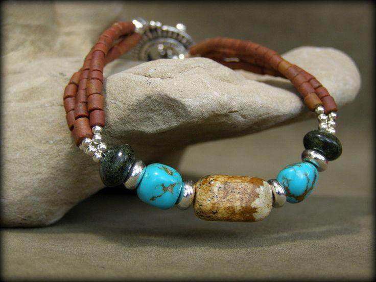Pulseras de turquesa abalorios pulsera por StoneWearDesigns