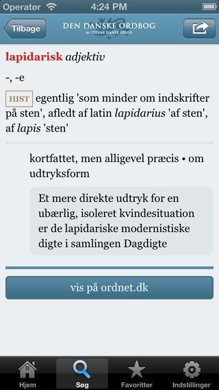 Den danske ordbog. Retskrivningsordbogen gratis iPhone app. Super app