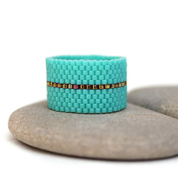 Wide turquoise ring Wide beaded ring Minimalist ring Everyday ring Turquoise…