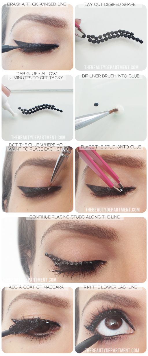 Black Studded EyeLiner Steps
