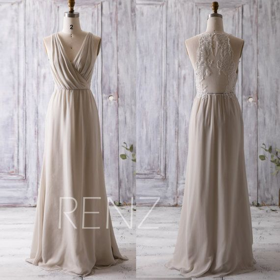 2016 Cream/Beige Bridesmaid Dress Long, Ruched V Neck Wedding Dress, Lace Back Prom Dress, Maxi Dress, Chiffon Evening Dress Floor (L092A)