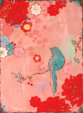 Lovebirds l Textile Bird Art on Pink Silk by Kathe Fraga
