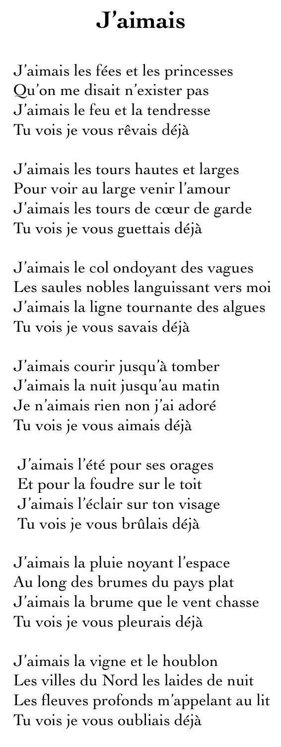 J'aimais © Jacques Brel