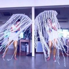 Adult Jelly Fish (super easy costume: umbrella + streamers).