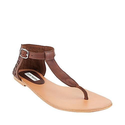 DELTONA COGNAC LEATHER women's sandal flat thong - Steve Madden