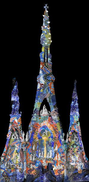 Light projection on the Sagrada Familia   imitating one of the Gaudí's decorative techniques (porcelain tile).  Barcelona.