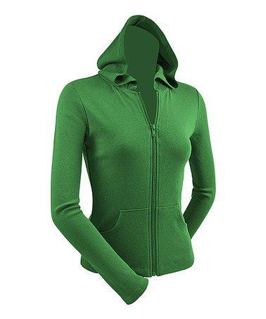 Kelly Green Zip-Up Hoodie #zulily #zulilyfinds