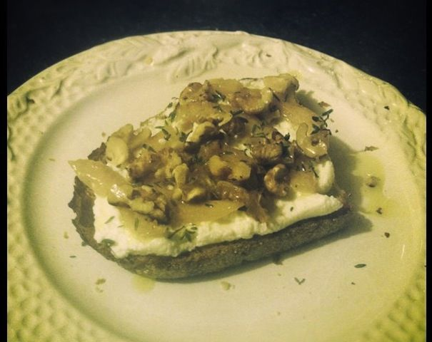 Ricotta Crostini with Confited Lemons, Thyme, and Walnuts | Recipe