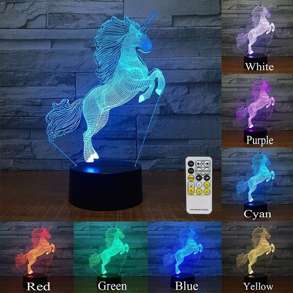 Unicorn 3d Led Night Light Kids Night Lights Bedside Lamp 7 Colors Change Remote Control Timer Table Lamp 3d Night Light Touch Control Kids Optical Illusion La Night Light Kids 3d Night