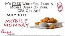 FREE CHICKEN NUGGETS 6-COUNT FOR MOBILE MONDAY... May 8th from 10:30am - 10:00pm  Which of our sauces do you like to dip your Chicken Nuggets in? Let us know when you get here.  Get your FREE Chicken Nuggets 6-Count when you place a Mobile Order on your Chick-fil-A One App (http://cfakm.co/one).  SHARE & LIKE with everyone :)  Offer ONLY valid at Chick-fil-A Katy Mills on May 8th from 10:30am - 10:00pm while supplies last. Only one offer per mobile order per person per day.  #chickennuggets…