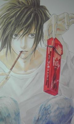 Death Note, L  How?? I wanna draw like that... << Me too. It looks like he wants to play the Pocky game though. >:D