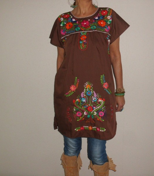 S tuniek mini jurk mexicaanse handgeborduurde - santa-fee - Mini-jurken