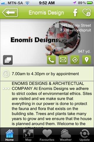 "Enomis Designs is a hAPPy business - a ""construction & design"" listing on the Hoedspruit Info App"
