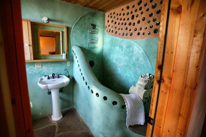 Earthship (Eco-friendly self sustainable housing) bathroom #earthship #greenbuild #ecohouse (http://earthship.com)