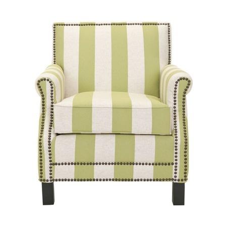 pinstripe club chair with nail head trim