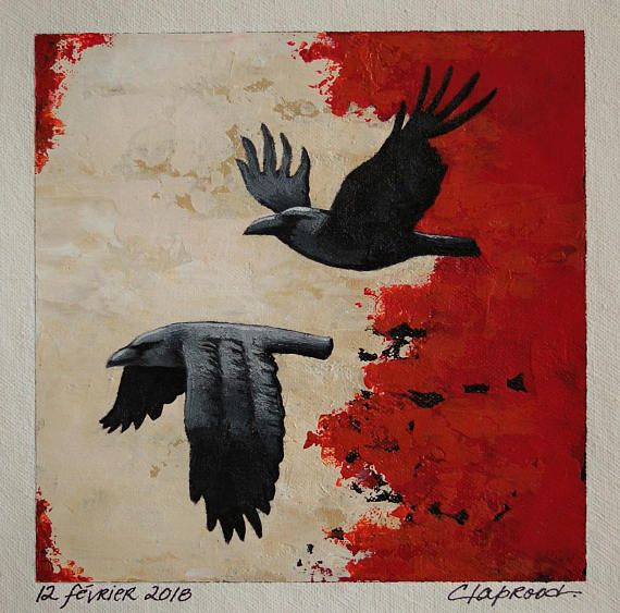 Raven painting couple of black birds 2 crows flying small
