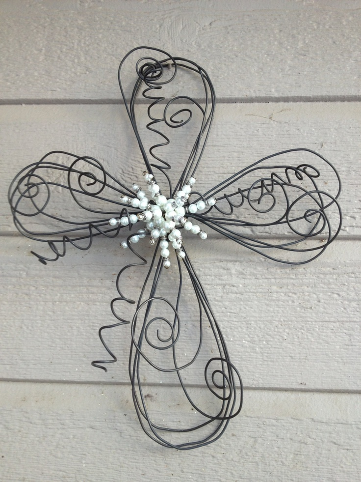 Swirls and Twirls Twisted Wire Pearl Beaded Cross-small. $35.00, via Etsy.