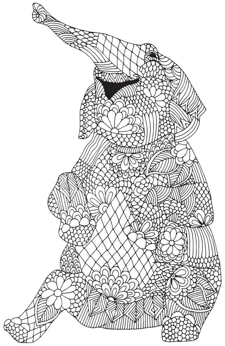 Coloring pages kingdom hearts - Happy Elephant From Awesome Animals Abstract Doodle Zentangle Coloring Pages Colouring Adult Detailed Advanced