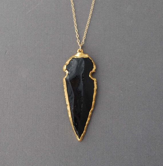 Amazing Black Obsidian Arrowhead Gold Necklace: Black Obsidian, Arrowhead Gold, Style, Arrowhead Jewelry, Obsidian Arrowhead, Gold Necklaces, Amazing Black