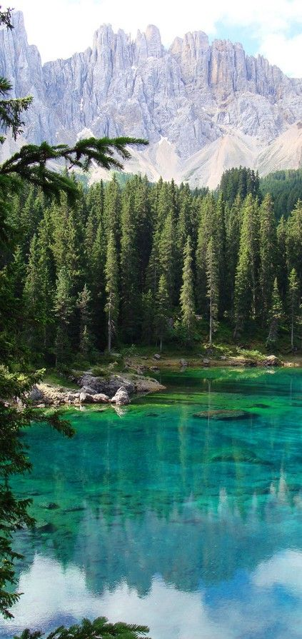 The Dolomites and Lago di Carezza (The Karersee) near Bolzano in South Tyrol, Italy • photo: Cristina on Flickr