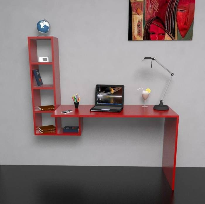 escritorio flotante biblioteca organizador moderno