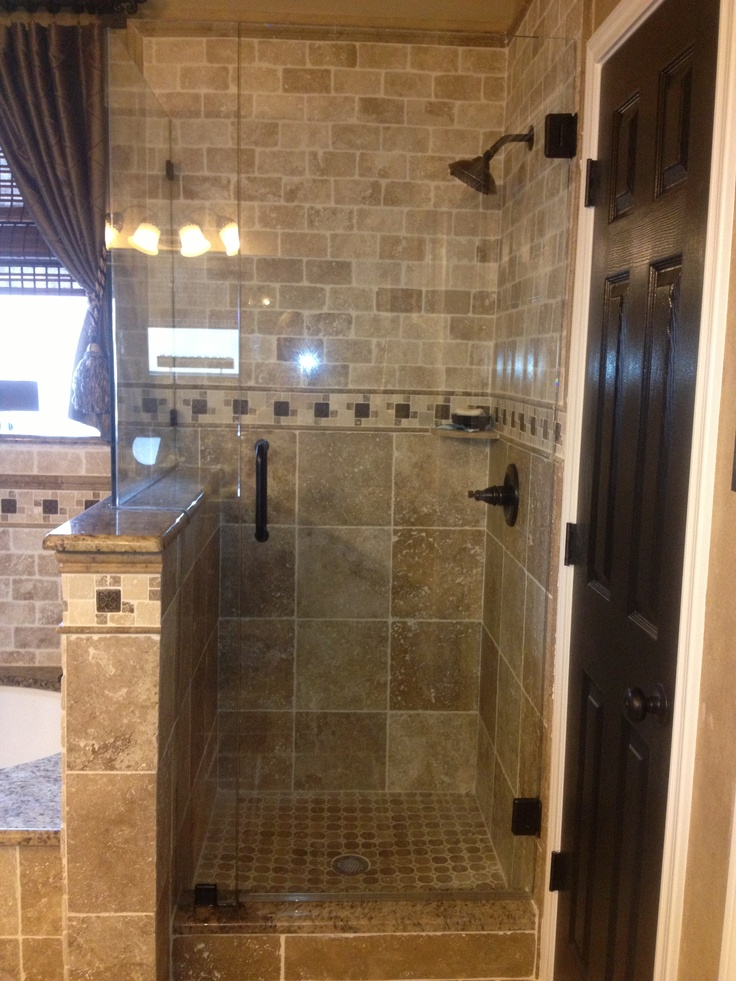 Travertine tile shower like the combo of brick and 12x12 for 12x12 floor tile designs