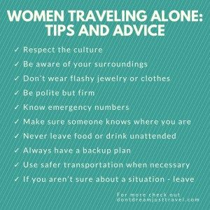 Advice for Women Traveling Alone
