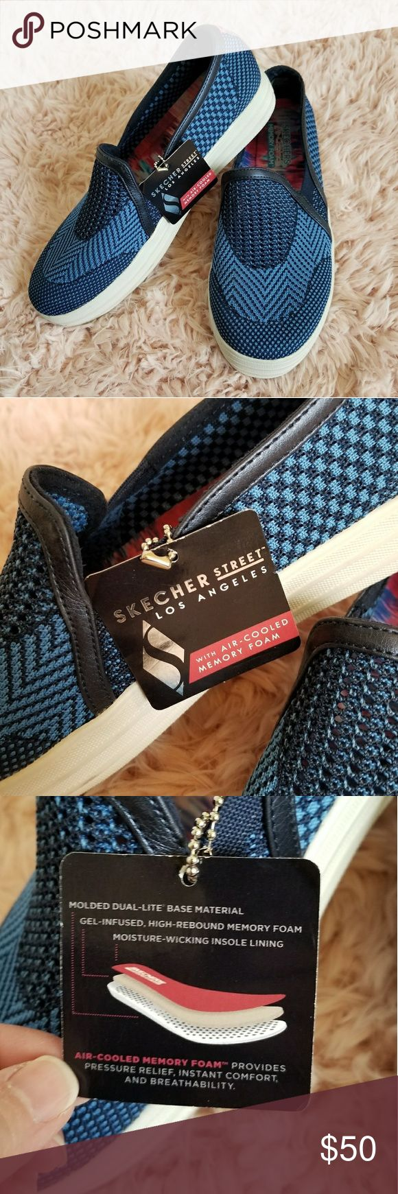NWOT Skechers Blue Air Cooled Memory Foam Slip On Super vibrant & pretty blue & navy Skechers slip on sneakers!  New without tags, in size 8.5.  Features air cooled memory foam cushioned comfort insole.  Feel & look great in these easy slip on sneakers 😊! Skechers Shoes Sneakers
