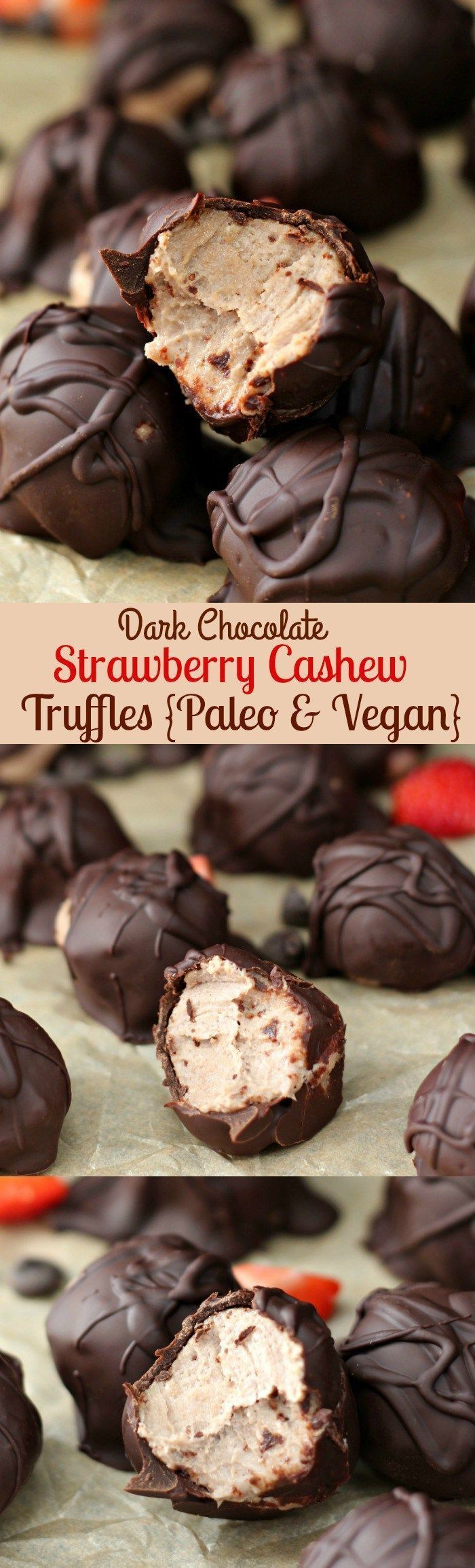 Dark Chocolate Dipped Strawberry Cashew Truffles {Paleo & Vegan} that are no bake, gluten free, healthy and decadent! Taste like they come from a box of chocolates!
