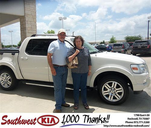 Southwest KIA of Rockwall would like to say Congratulations to John Knight on the 2009 Ford Explorer from Teresa Toombs