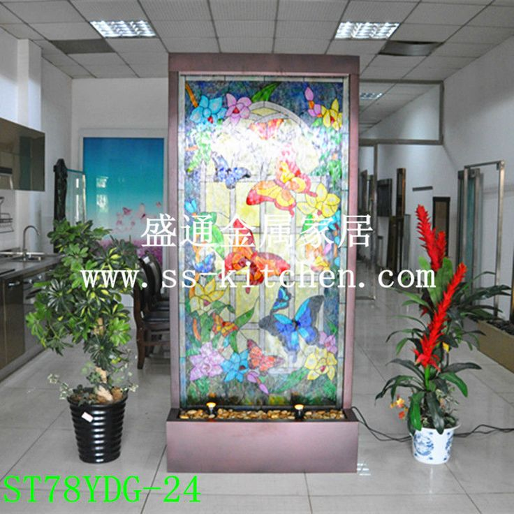 Water Roon Divider or Water Wall Decoration Aluminum with Matt Copper  Powder Coating Frame and Painted Glass Panel.Double Led Spot lights.Size:H2000 *W 1000 * D380 mm.