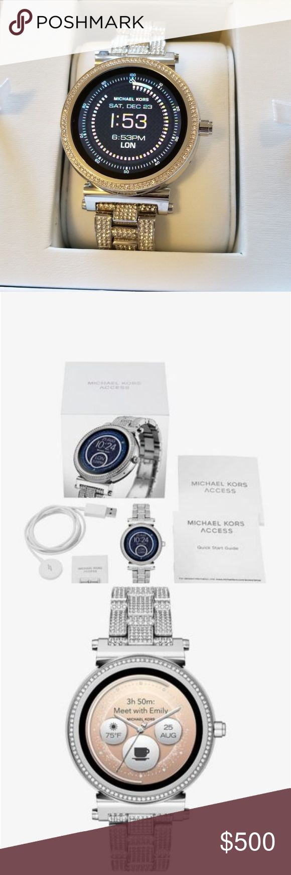 Michael Kors Sofie Pave Touchscreen Smartwatch Do not mistake this for the $395.00 version, it is not. Powered by Android Wear, the Michael Kors Access Sofie silvertone touchscreen smartwatch connects with your favorite apps and is compatible with iPhone and Android devices. With built-in Google Assistant, you can use voice control to ask questions & give commands. Receive notifications, such as calls & alerts at a glance as well. Fully personalize your watch by selecting or the watch face…