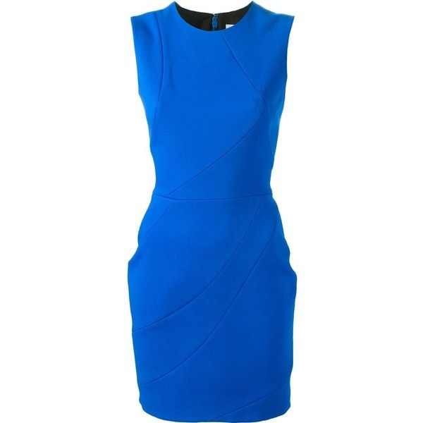 Victoria Beckham panelled mini dress ($2,685) ❤ liked on Polyvore featuring dresses, blue, wool mini dress, victoria beckham, royal blue mini dress, short dresses and blue dress