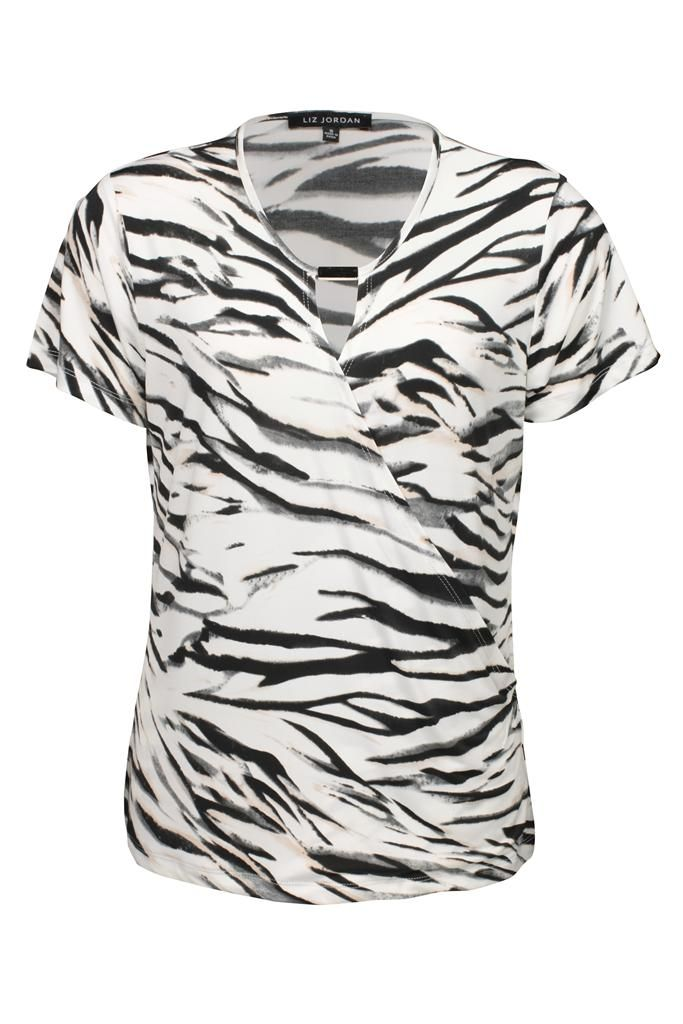 Liz Jordan Print X Over Buckle Top $79.95 AUD  Short sleeve print jersey knit cross over top with front keyhole and buckle Polyester/Elastane Item Code: 047928