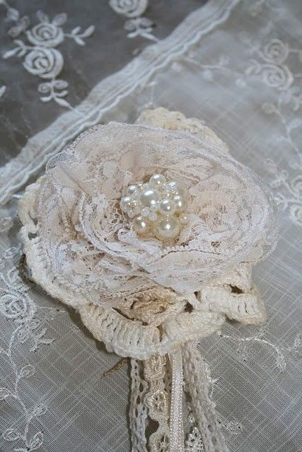 Layered lace rose with ribbon and pearls