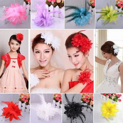 Colorful Feather Bead Corsage Hair Clips Fascinator Bridal Hairband Brooch Pin