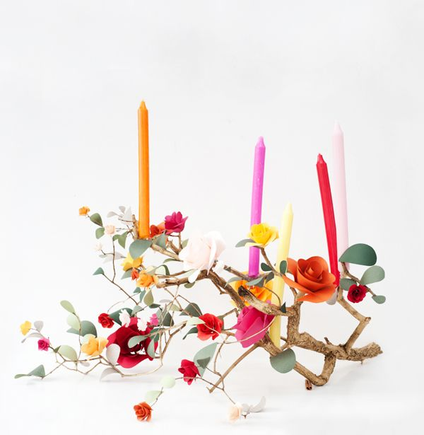 Paper flower candelabra celebrate pinterest menorah