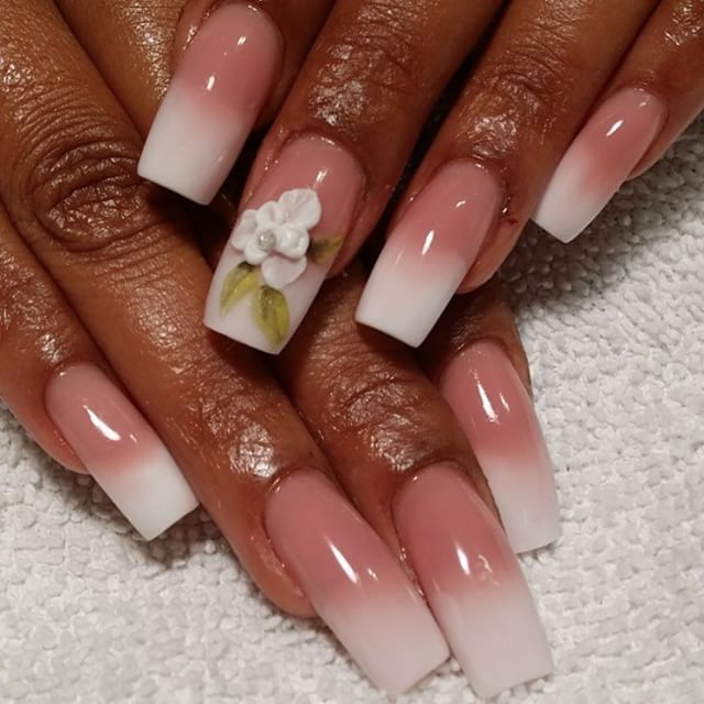 I can't get enough of the Pink and White Fade! @corinehughes used Tammy Taylor Cover It Up Dark Pink and Whitest White for this flawless set!