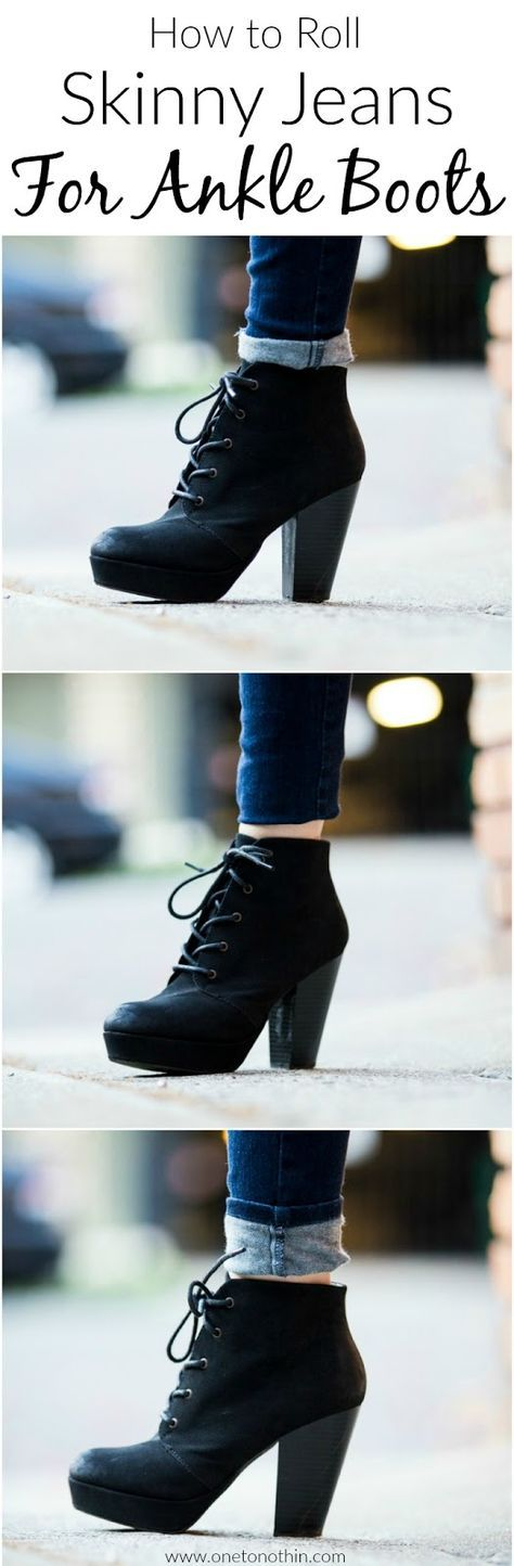 how to wear high heel ankle boots with skinny jeans