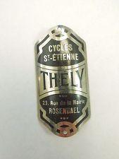 Vintage Thely Bicycle Head Badge Emblem Cycles St-Etienne 23 Rue de la Mairie