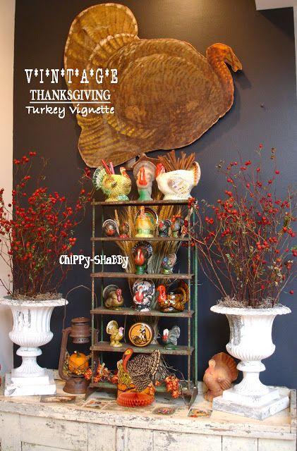 Chippy shabby seasonal entry vignette for november in for Thanksgiving home decorations pinterest
