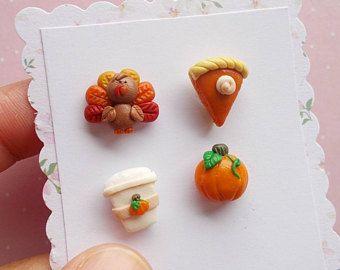 Bajar pendientes acción de gracias Turquía joyas traje calabaza pendientes otoño regalo de Halloween para su conjunto de 4 pendientes
