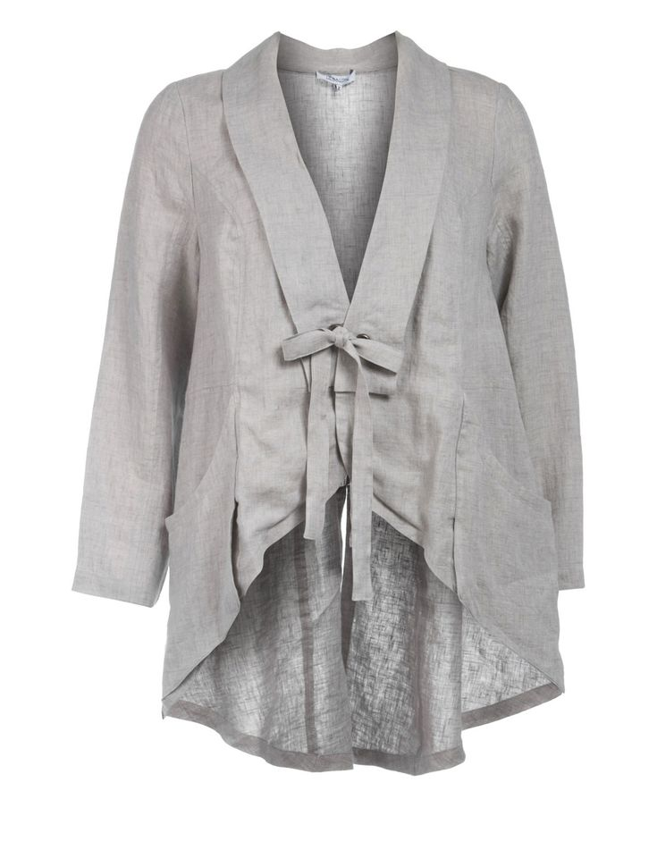 Hebbeding Linen jacket with decorative lacing in Light-Grey