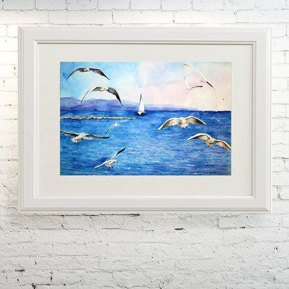 Printable wall art  Watercolor poster Sea by TatyanaKomarovaArt